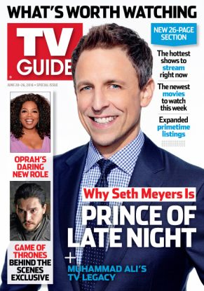 Cover photograph of Seth Meyers by Lloyd Bishop/NBC for TV Guide Magazine