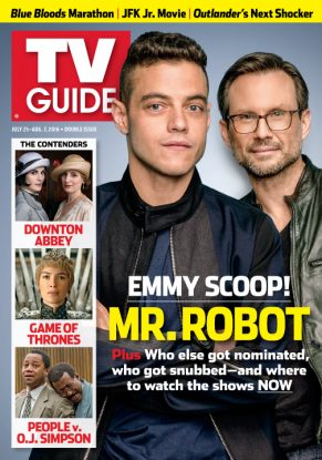 Cover photo of Rami Malek and Christian Slater by Jim Wright for TV Guide Magazine